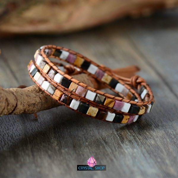 Two Strands Gemstone Cube Bracelet